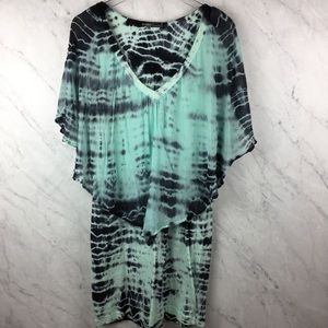 Gypsy Tie Dye Green/Grey Cape Style Dress, Size M